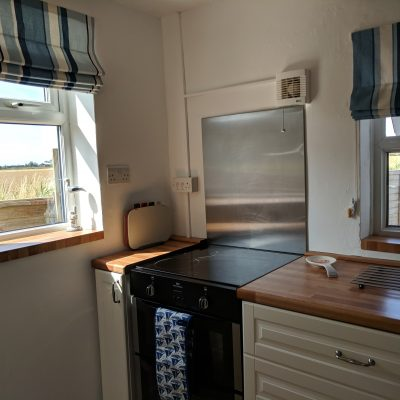 Kitchen with beautiful views of the fields