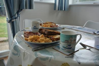 Enjoy breakfast looking out onto the fields